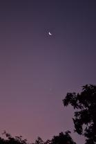 La luna y un pequeño lucero que me recibían todos los días de vuelta del trabajo.